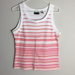 New York & Company Striped Rib Knit Tank Top